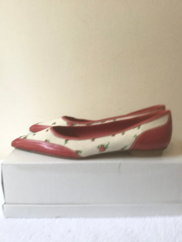 BRAND NEW LK BENNETT RED LEATHER & CREAM FLORAL CANVAS PRINT FLATS SIZE 3.5/ 36.5