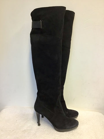 PIED A TERRE BLACK SUEDE OVER KNEE LENGTH HEELED BOOTS SIZE 7/40