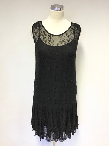 POLO BY RALPH LAUREN BLACK BEADED SLEEVELESS DRESS SIZE UK 8