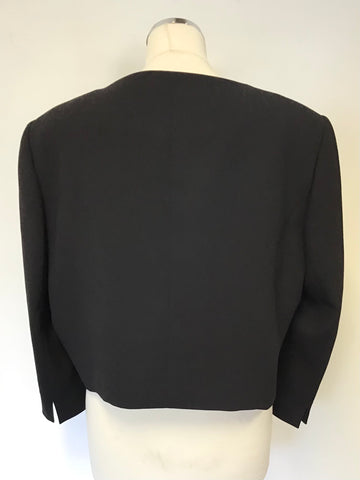 JACQUES VERT BLACK 3/4 SLEEVE SHORT SPECIAL OCCASION JACKET SIZE 22