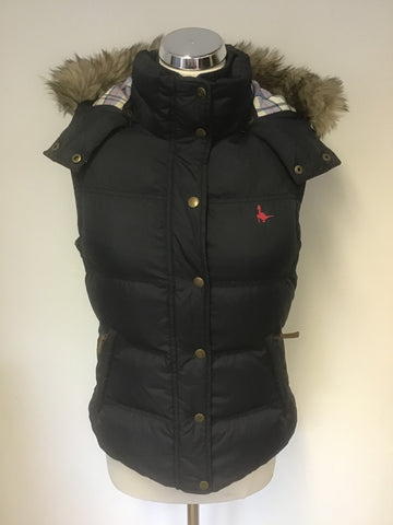 JACK WILLS DARK BLUE DUCK DOWN & FEATHER FILLED HOODED GILET/ BODY WARMER SIZE 10