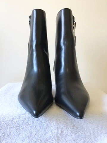 BRAND NEW ZARA BLACK LEATHER PERSPEX HEEL ANKLE BOOTS SIZE 7/40