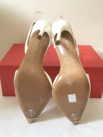 BRAND NEW PURA LOPEZ WHITE LEATHER SPECIAL OCCASION HEELS SIZE 4.5/37.5