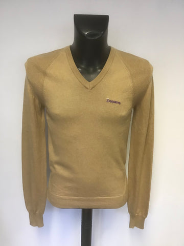 DSQUARED2 CAMEL CASHMERE & COTTON BLEND V NECK JUMPER SIZE L