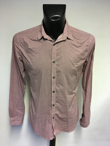 PAUL SMITH RED,WHITE & GREY PRINT COTTON SHIRT SIZE M