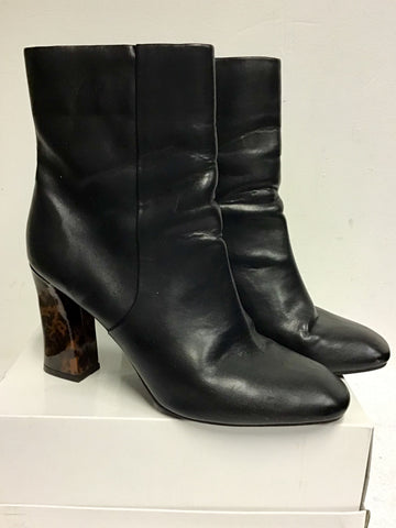 MARKS & SPENCER BLACK LEATHER & BROWN TORTOISE HEEL ANKLE BOOTS SIZE 7.5/40.5