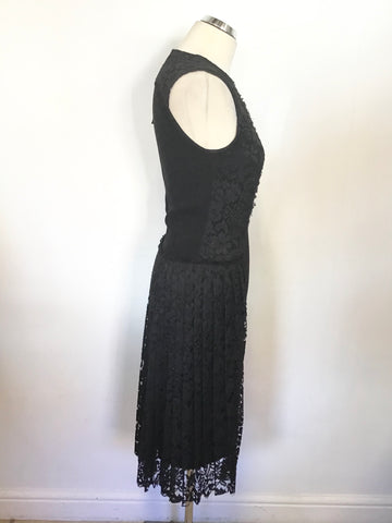 BRAND NEW JOSEPH YELENA BLACK LACE & CREPE PENCIL DRESS SIZE 36 UK 8