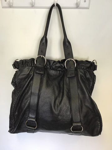 VIYELLA BLACK LEATHER EXTRA LARGE SHOULDER / WEEKEND BAG