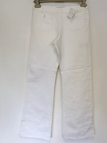 BRAND NEW CHRISTIAN DIOR WHITE COTTON & LINEN ROMANTIC GIRL TROUSERS AGE 12