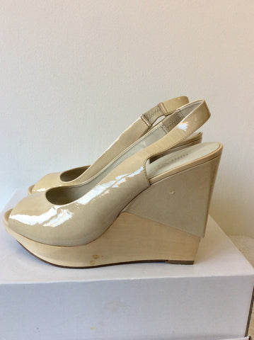 NINE WEST NUDE PATENT LEATHER PEEPTOE WOODEN WEDGE HEEL SLINGBACK HEELS SIZE 6.5/40
