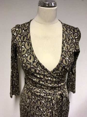 LK BENNETT BROWN & WHITE PRINT SILK WRAP DRESS SIZE 10