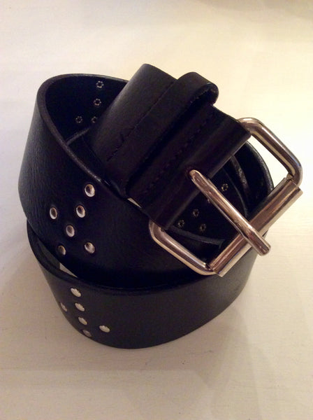 ALL SAINTS BLACK LEATHER & SILVER STUDDED BELT SIZE M