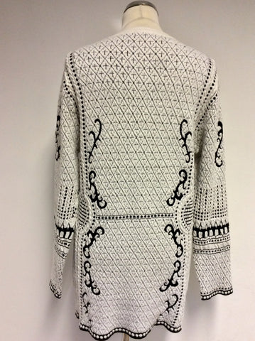 BRAND NEW CHESCA IVORY & BLACK DESIGN V NECK CARDIGAN SIZE 1 UK L