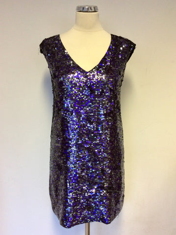 Brand New French Connection Purple & Silver Sequin Dress Size 6