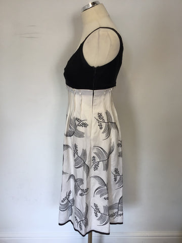 MONSOON BLACK & WHITE EMBROIDERED LINEN BLEND DRESS SIZE 8