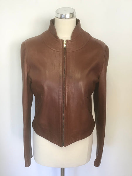 MULBERRY BROWN SOFT LEATHER ZIP UP JACKET SIZE 12