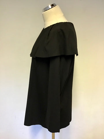 COS BLACK PLEATED EDGE TRIM 3/4 LENGTH SLEEVE TOP SIZE 42 UK 14