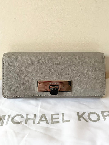 BRAND NEW MICHAEL KORS GREY LEATHER TOTE BAG WITH ADDITIONAL STRAP & MATCHING PURSE