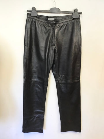 WALLIS BLACK STRAIGHT LEG LEATHER TROUSERS SIZE 12