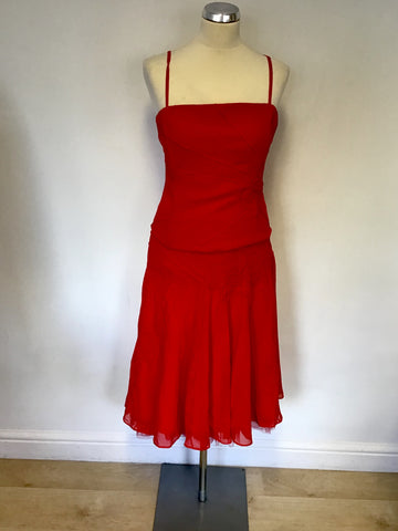 COAST RED SILK FLOWER TRIM BODICE TOP & RED FLOATY SKIRT SIZE 14/16