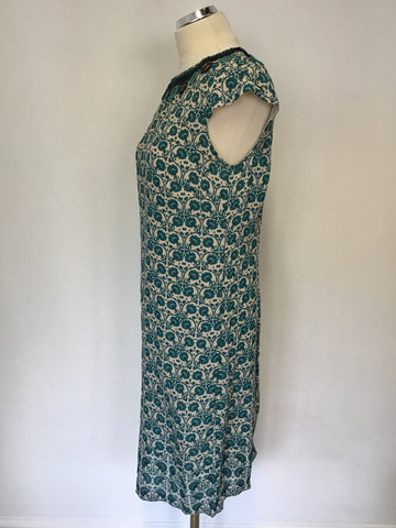 BRAND NEW MONSOON CREAM,GREEN & NAVY FLORAL PRINT SHIFT DRESS SIZE 10
