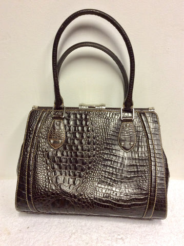 HOBBS DARK BROWN LEATHER CROC DESIGN TOTE/ SHOULDER BAG