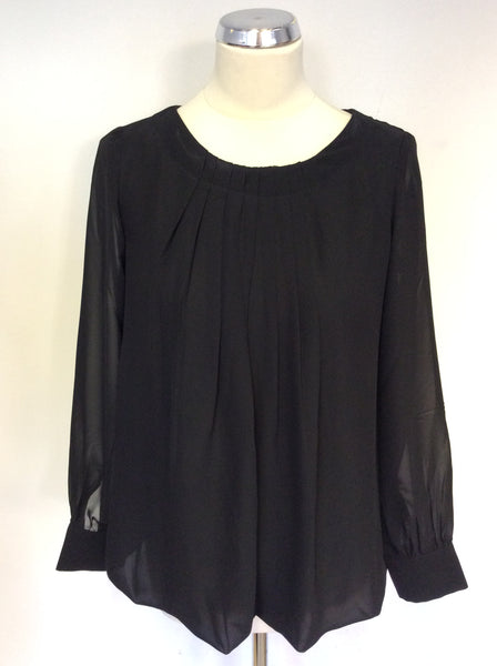 BRAND NEW POMODORO BLACK PLEATED FRONT BLOUSE SIZE 10
