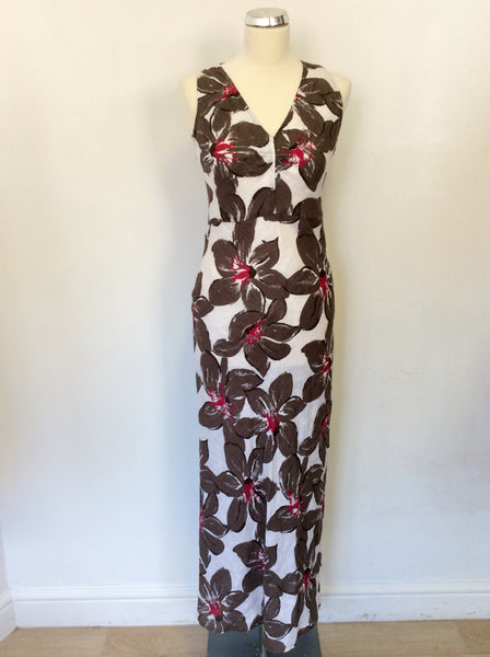 HOBBS WHITE,BROWN & PINK LONG LINEN FLORAL PRINT DRESS SIZE 10