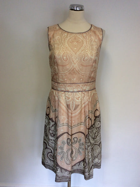 BRAND NEW PINK,IVORY & TAUPE PRINT SILK OCCASION DRESS SIZE 12