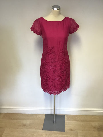 COAST PINK EMBROIDERED FLORAL DESIGN SHIFT DRESS SIZE 8