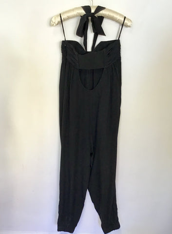 TED BAKER BLACK SILK HALTER NECK JUMPSUIT SIZE 2 UK 10