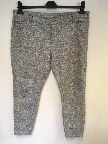 WHISTLES LIGHT GREY PRINT ANKLE GRAZER JEANS SIZE 34""