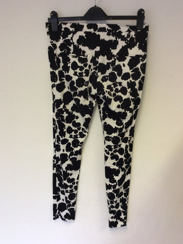 FRENCH CONNECTION BLACK & WHITE PRINT CAPRI PANTS SIZE 8