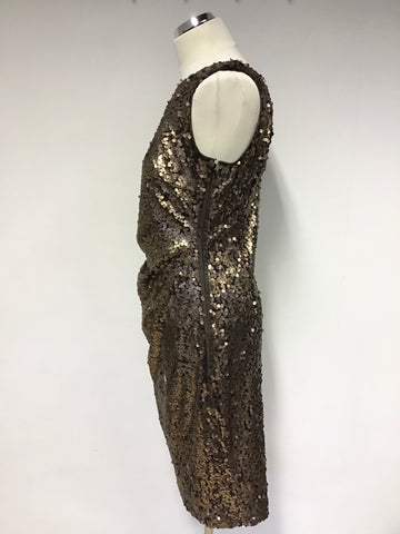 BRAND NEW PHASE EIGHT BRONZE SEQUINNED SLEEVELESS PENCIL DRESS SIZE 14
