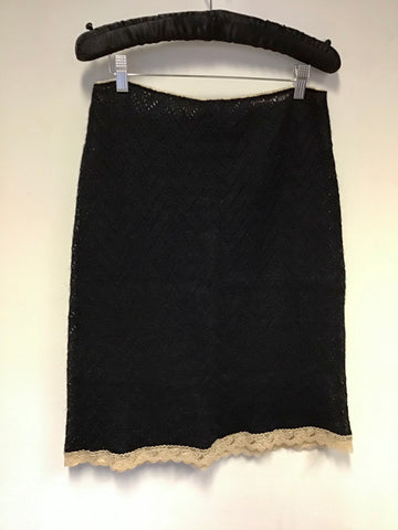 BRAND NEW DOLCE & GABBANA BLACK KNIT SKIRT WITH CREAM LACE TRIM SIZE 44 UK 12