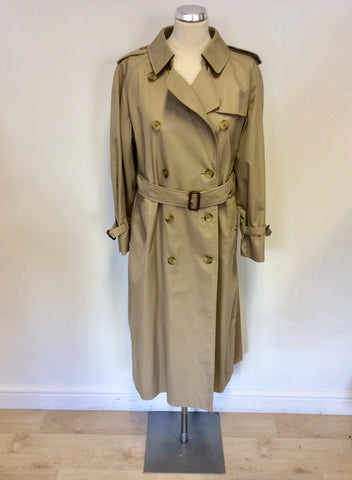 BURBERRY BEIGE LONG MAC/TRENCH COAT SIZE 14 LONG