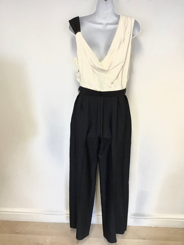 REISS JAMILIA BLACK & IVORY SILK TOP TUXEDO JUMPSUIT SIZE 14