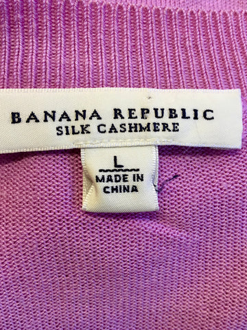BANANA REPUBLIC PINK SILK & CASHMERE SCOOP NECK JUMPER SIZE L