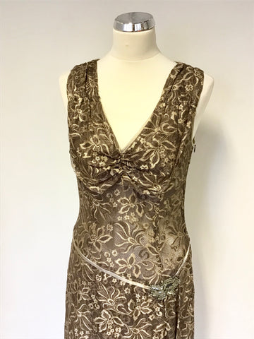 PHASE EIGHT BRONZE & GOLD LACE BEADED TRIM SPECIAL OCCASION DRESS SIZE 10