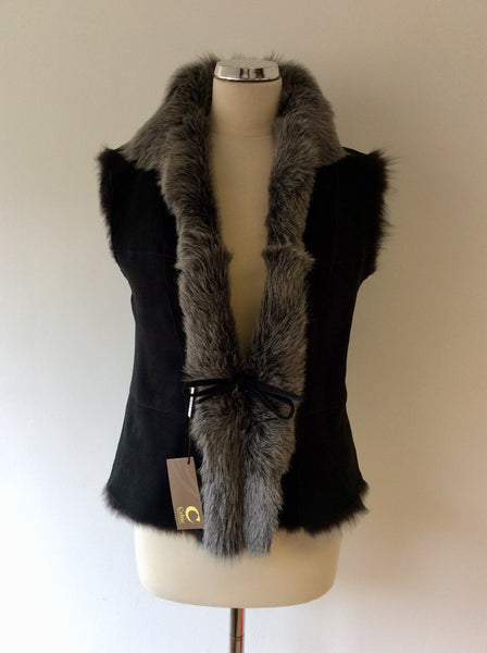 BRAND NEW CELTIC & CO 100% NATURAL BLACK SHEEPSKIN FUR LINED GILET SIZE 12