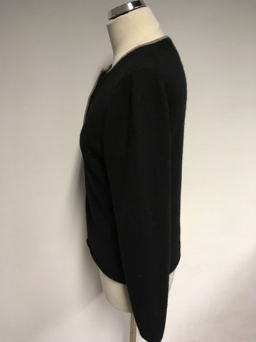 A.GIANNETTI BLACK & FAWN TRIM CASHMERE CARDIGAN SIZE M