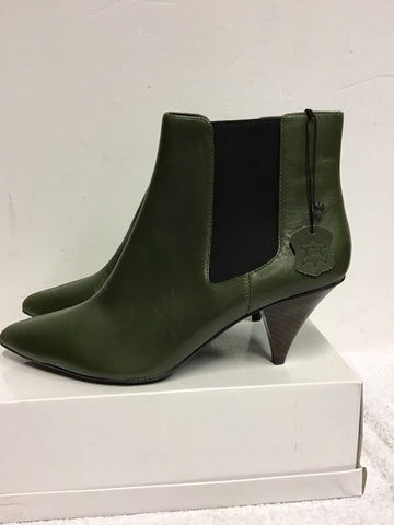BRAND NEW MARKS & SPENCER DARK GREEN LEATHER ANKLE BOOTS SIZE 8/42