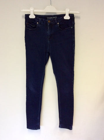 WHISTLES DARK BLUE DENIM SKINNY LEG JEANS SIZE 24