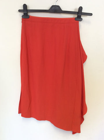 BRAND NEW REISS DITA WATERFALL DETAIL MANDARIN RED PENCIL SKIRT SIZE 4