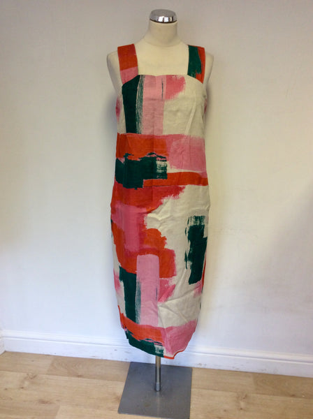 TOAST RED,PINK,GREEN & CREAM PRINT LINEN MIDI DRESS SIZE 12