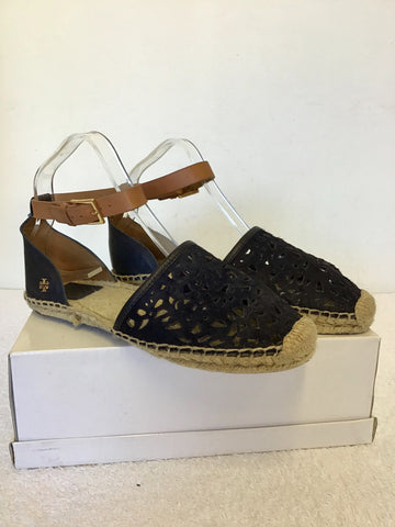 BRAND NEW TORY BIRCH NAVY BLUE & TAN LEATHER ESPADRILLE FLAT SANDALS SIZE 6/39