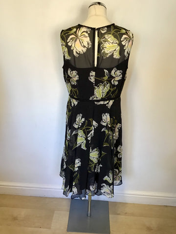 HOBBS BLACK FLORAL PRINT OCCASION DRESS SIZE 14