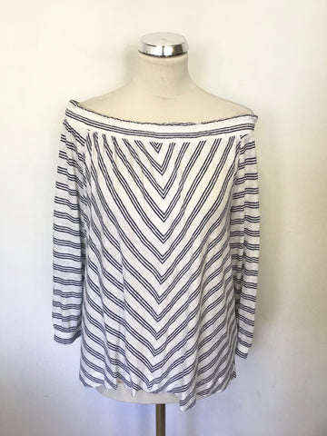 WHISTLES NAVY BLUE & WHITE STRIPED OFF SHOULDER LINEN TOP SIZE M