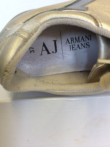 ARMANI JEANS PALE GOLD LEATHER LACE UP TRAINERS SIZE 4/37