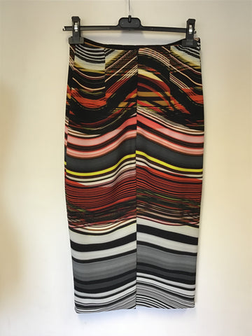 PER UNA SPEZIALE MULTI COLOURED STRIPE PENCIL SKIRT SIZE 8